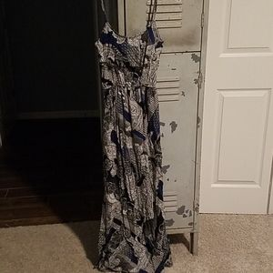Black and blue maxi dress